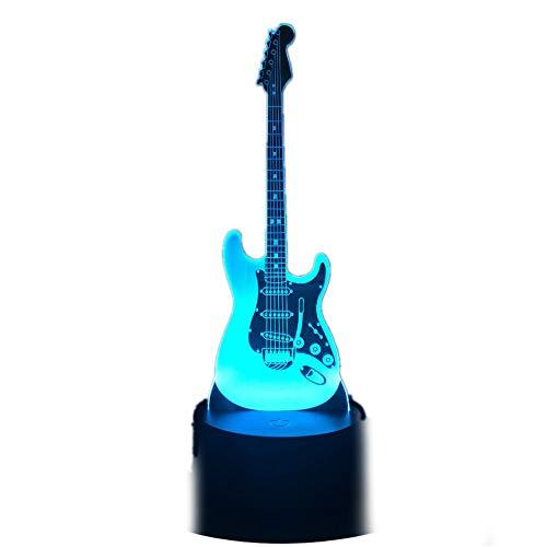 KangYD 3D Nachtlicht/Bass-Gitarren-Lampen-Kindergeschenk-Musikinstrument 3D führte Farbe des Nachtlicht- / Usb-Noten-7