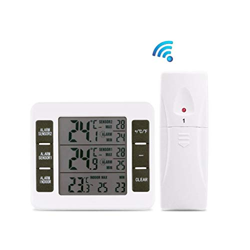 Yue668 Indoor Outdoor Digital Thermometer Temperatur Fernbedienung Sensor Wireless LCD Alarm Kühlschrank für Wohnzimmer Schlafzimmer Garten (A)
