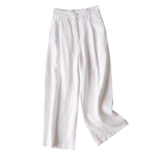 VRTUR Damen Schicke Stoffhose Leinenhose Hosen Lang Weites Bein Sommerhose Freizeithose Knopf Waist Cropped Hose Caprihose Weiß M
