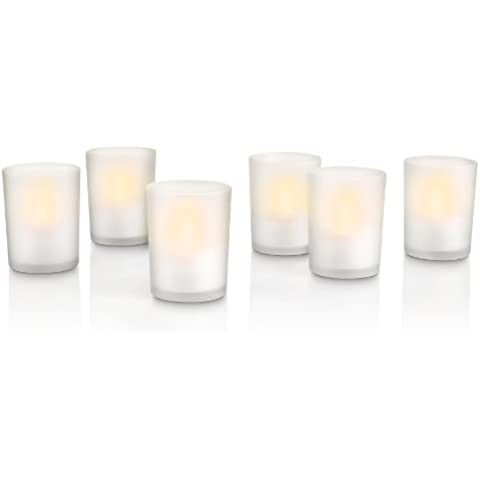 Philips TeaLights - Set de 6 lámparas tipo vela decorativa, iluminación de interior, LED, color