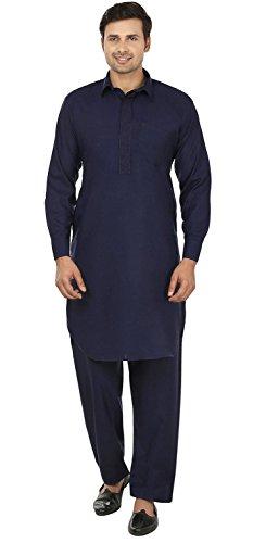 Maple Kleidung Mens Pathani Kurta Salwar Set Indische Partei Wear (Blau, L) (Indische Herrenbekleidung)