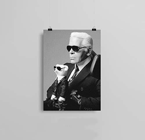 Karl Lagerfeld RIP Portrait Mode Kunst Poster Modern Schwarz und Weiß Home Decoration Leinwandbild Hd Print Wandbild 40x50cm Ohne Rahmen