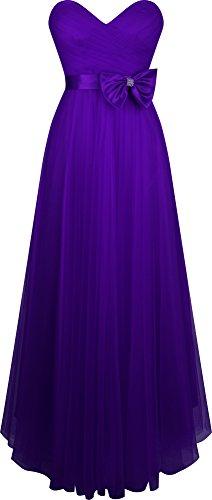Angel-fashions femminile pieghettato innamorato Tulle una linea Bow di sfera Viola