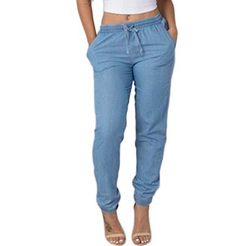 ITISME Jeanshosen Femmes Automne et Hiver Taille Élastique Pantalon Décontracté Taille Haute Jeans Casual Bleu Denim Pantalons