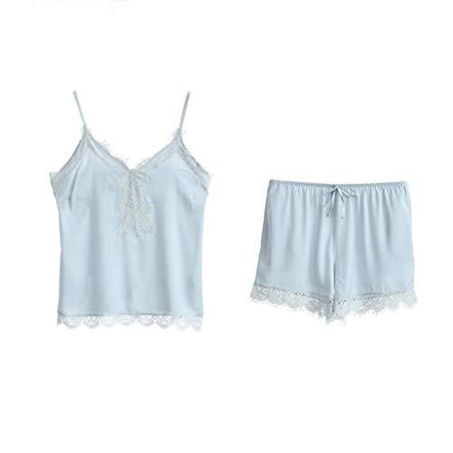 Nachtwäsche Neue Sommer süße Nette Spitze sexy Strap Damen Pyjamas komfortable Home Service Anzug Underwear (Sling + Shorts) (Size : M) -