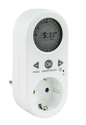 Uhr Zeit, Tag, (ZEITSCHALTUHR STECKDOSE Digital von 4smile ǀ Tageszeitschaltuhr mit LCD-Anzeige ǀ Schalt-Uhr mit Kindersicherung ǀ 48 Schalt-Zeiten pro Tag ǀ für den Innenbereich ǀ Farbe: weiß)