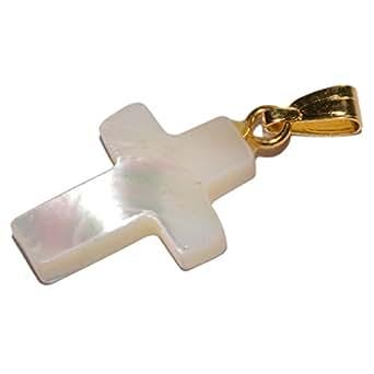 Pendentif Bijoux - Croix en nacre Ht 1,8cm - Croix pour communion