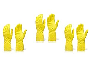 DeoDap Rubber Hand Gloves Reusable Washing Cleaning Kitchen Garden (3 Pairs_Medium) (Color May Vary)