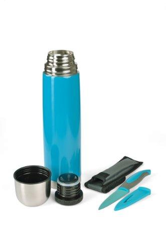 Isolierflasche 1 L, Dichter Drehverschluss farbig inkl. Allzweckmesser, Farbauswahl:C5 petrol - türkis