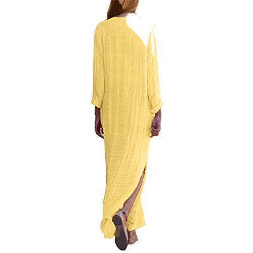 BaZhaHei Vestidos de Mujer Falda Vestido de Manga Larga con Cuello en V Dividido Vestido con Dobladillo Largo Holgado de Kaftan Holgado Vestido de algodón de Manga Larga con Estampado de Mujer M
