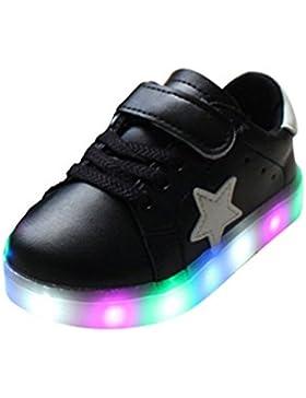 YHNEW Llevó Zapatos Cabritos Aire Libre Que Brillaban Intensamente Zapatilla Deporte Niños Shoes Negro 29