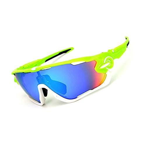 Coniea Sportbrille zum Laufen PC Radbrille Herren Sicherheitsbrille Grün Weiß