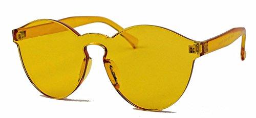 randlose Retro Sonnenbrille Flat Lens transparente Pantobrille UC15 (Amber)