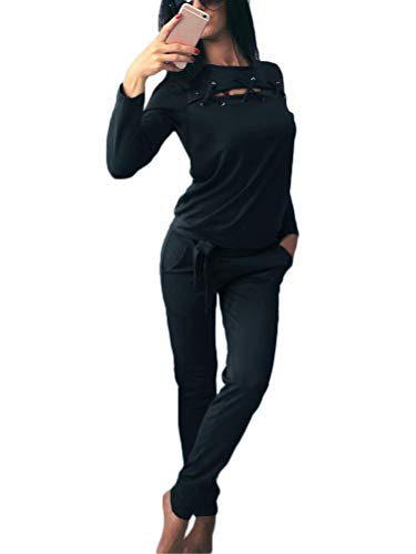 Minetom Damen Elegant Langarm Kapuzenpullover Sets Sport Hoodie Lange Hose Anzug Bandage Zweiteilig Pullover Sportanzug Sportbekleidung Schwarz DE 42 -
