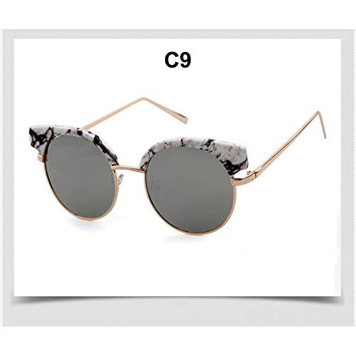 Taiyangcheng Gafas de sol de las Mujeres de las gafas de sol del ojo del gato del Medio Marco de Moda para la hembra,C9