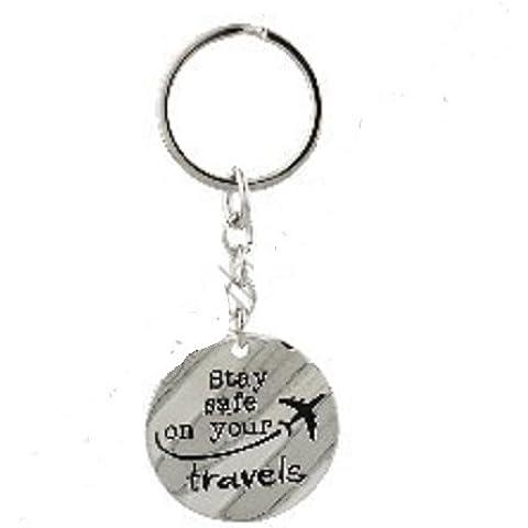 Juliana in metallo portachiavi sentimento rimanere al sicuro i vostri viaggi, con immagine di un aereo