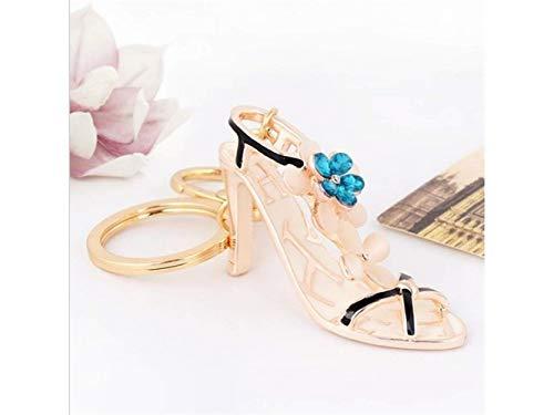 Qiuqiu Home Handtasche Anhänger Auto Schlüsselanhänger für Frauen Dame Mädchen Dekoration (Blau) Kristall Opal Blume High Heels Keychain
