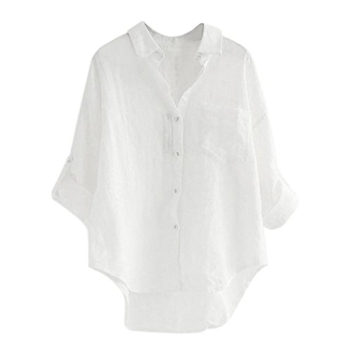 Longra Damen Bluse Damen Hemd Jeansbluse Hemdbluse Denim Jeanshemd Jean Denim Langarm Shirt Tops Bluse Jacke Damen Denim Knopf-Bluse Langarm Hemd Casual Shirts Tops Langarmshirt (M, White)