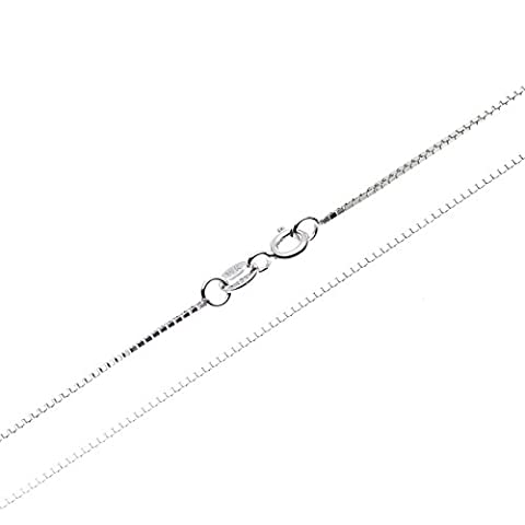 SWEETV 925 Sterling Silver 0.8mm Box Chain Necklace for Pendants - Thin Italian Fashion Jewelry, 22