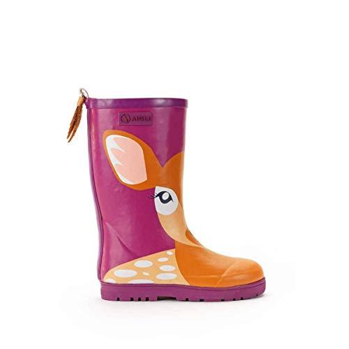 Aigle Woody POP Fun Fur Boots Girls Pink Wellington Boots