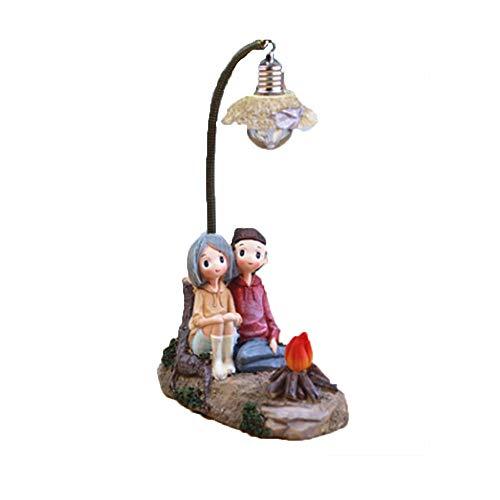 LFA Harz Handwerk Paar Charakter Ornamente kreative einzigartige Junge mädchen nachtlicht,OneSize-Campfire Lights