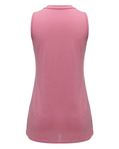ZANZEA Femme Casual Plaine Gilet Haut Elégant Débardeurs Split Blouse Sans Manches T-Shirt Rose