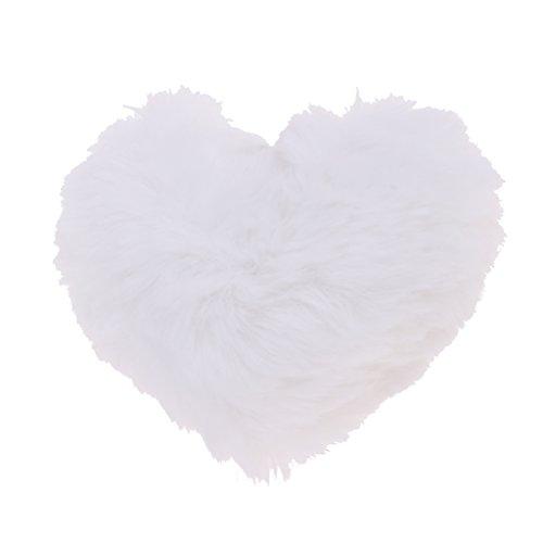 Homyl Miniatur Herzkissen Kissen Plüschkissen Herzform Sofakissen für 1/3 Puppe Haus Sofa Bett Dekoration - Weiß (Weiße Puppe-haus)