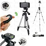 """SHOPEE BRANDED 40"""" DSLR Camera Tripod For Camera + Mobile Clip Holder + SELFIE BLUETOOTH REMOTE / Fully Flexible Mount Cum Tripod , 3-section lever-lock legs for easy height adjustments , Light weight Tripods Latest 2018 Upgraded , Compatible with most video cameras, digital cameras, still cameras, GoPro devices, smartphone adapters and scopes , Latest Trypod for Canon, Nikon, Sony, Cameras, Camcorders, iPhone & Androids , Best Quality afordable Price WITH CARRY BAG"""