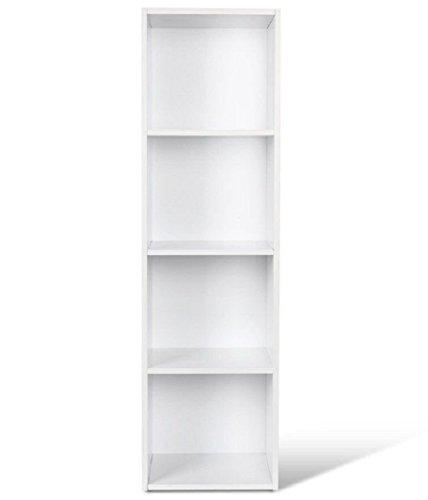 Homfa Étagère Bibliothèque Armoire Etagère de Rangement pour Livres Bureau Salon (Blanc, Quatre Niveaux)