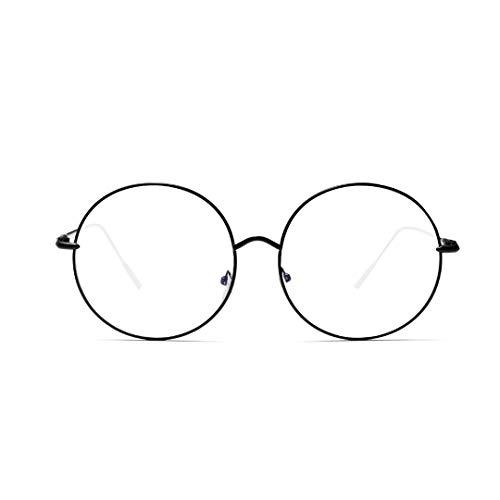 UICICI Übergroße Metallrunde Flache Spiegel-weibliche dünne Rahmen-Gläser (Farbe : Schwarz)