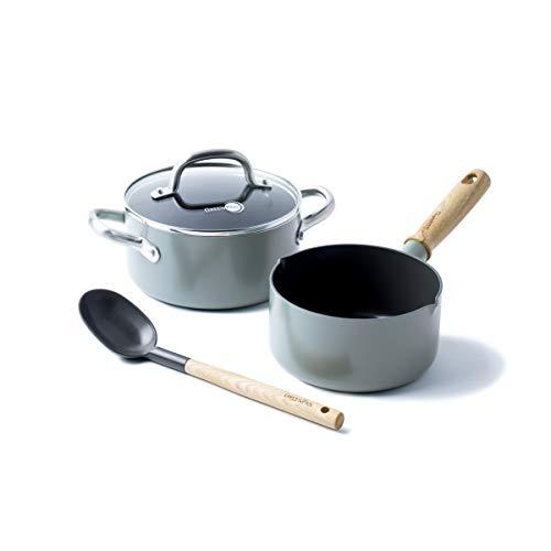 GreenPan Set 4-teilig Koch-Topf 16cm Ø + Schmor-Kochtopf 20-cm Ø mit Glas-Deckel inklusive Kochlöffel mit Keramik-Antihaft-Beschichtung, Aluminium