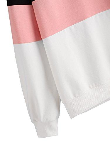 ROMWE Damen Streifen Sweatshirt Farbblock Lang Locker Langarmshirt Pullover Schwarz Rosa