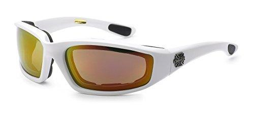 Moda Choppers Gangster Biker Schaumstoff gepolstert Matte Motorrad-Schutzbrille-Sonnenbrille 1 55 Mittel Mirrored Weiß Orange