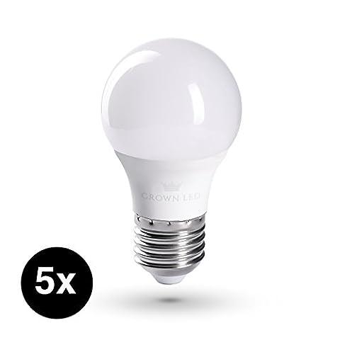 CROWN LED Lampen | 5 Stück | E27 | 5W | Ersatz für 40W | Warmweiß | 230V | 160° Abstrahlwinkel | CR03