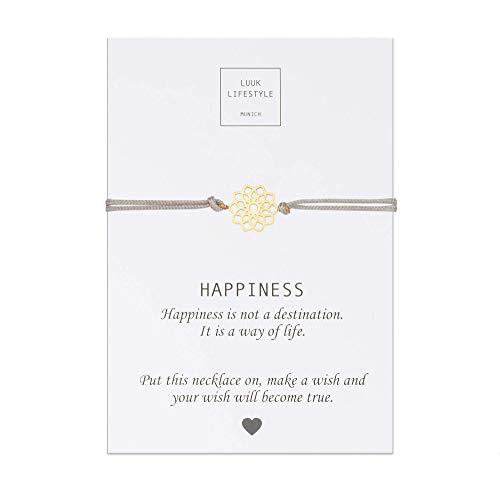 LUUK LIFESTYLE Filigranes Textil Armband mit Mandala I Blume Anhänger und Happiness Spruchkarte, Glücksbringer, Frauen Armband, beige, Hellbraun, Gold