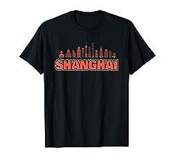 Shanghai Skyline Motiv Geschenk Mitbringsel Reise Urlaub T-Shirt