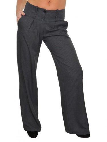 (1402-3) Signore gamba larga Città pantaloni gessato grigio Finta