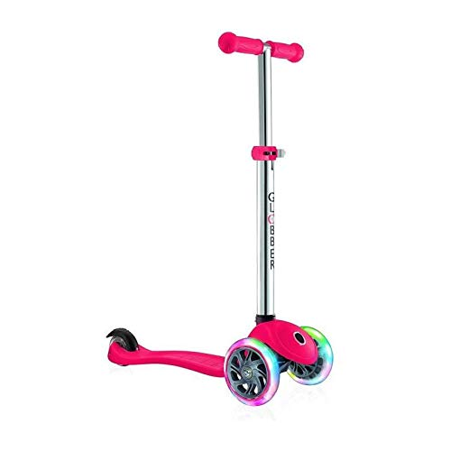 Globber Primo Lights Kids Scooter - Primo Scooter - 3 Wheel Scooter - Red (Red Rider Scooter)