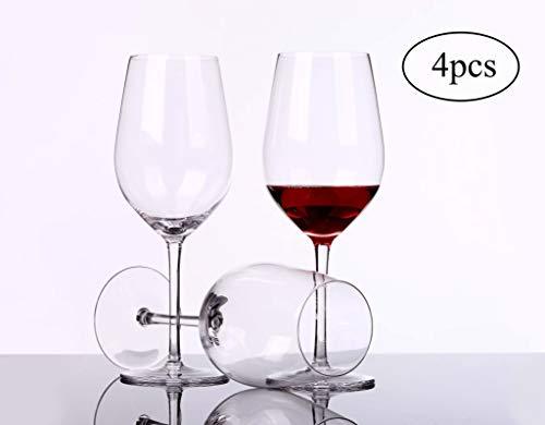 Transparentes Bleifreies Kristallglas Weinglas Schlichtes und Stilvolles Mundgeblasenes Burgunder-Weinglas 4er-Set Geeignet für Verschiedene Weinsorten Pinot Noir, Gamay, Zweigelt, St. Laurent usw