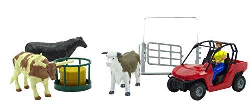 Ensemble de Jeu Newray Farm Animals & Accessories avec Red 4X4, bétail et clôtures - 3 Ans et Plus