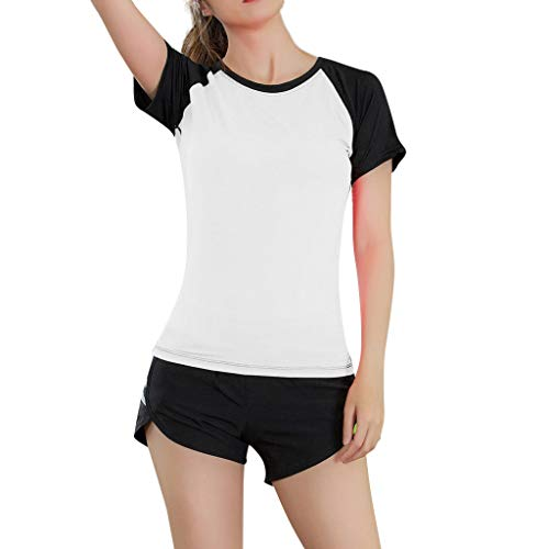 TWIFER Damen Casual Yoga Sport T Shirt Enge Schnell Trocknende Bluse Tops Elastic Tee Shirts (Messungen Johnson Dwayne)