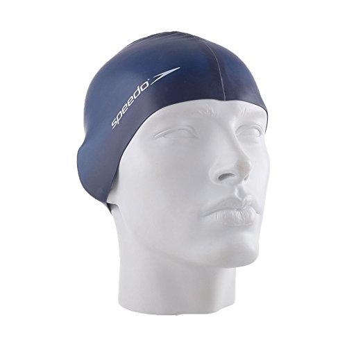 Speedo plain flat, cuffia da piscina in silicone unisex adulto, blu marino, taglia unica