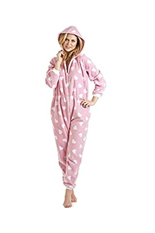 Camille - Damen Schlafanzug-Einteiler - Mit Herzen bedruckt 46/48 PINK/WHITE HEART (Pyjama Overall)