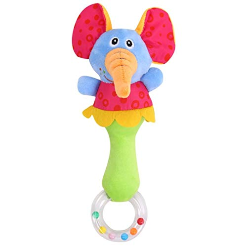 Baby Grow Soft Toys Animal Model Hand Bells Rattles Zoo Squeeze Me Rattle (Elephant)