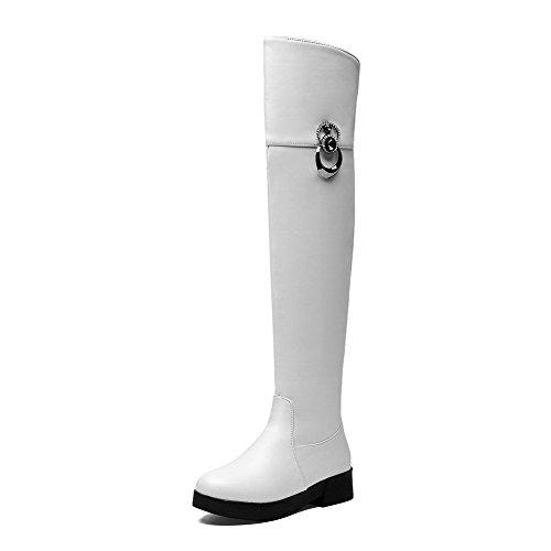 AllhqFashion Damen Weiches Material Niedriger Absatz Überknie Hohe Stiefel Stiefel Weiß