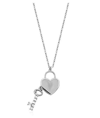 SOFIA MILANI Damen Halskette Herz Anhänger Schlüssel Silber 50197