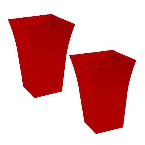 Red plant pots amazon crazygadget large milano tall planter square plastic garden flower plant pot gloss finish for indoor and ourdoor red 2 workwithnaturefo