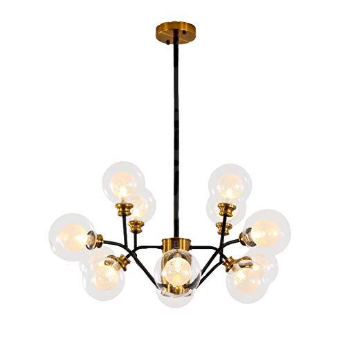 Nordic Kreative Moderne LED 9/12 / 15Lights Eisen Kronleuchter Deckenleuchte, Runde Glas Lampenschirm Gold + Schwarz Anhänger Leuchte für Schlafzimmer Wohnzimmer-12armsD80cm*H40CM -