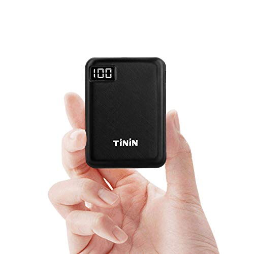 TiNiN Portable Charger 10000mAh Power Bank, Mini Phone Charger with 2 USB Output and LED Display, Fast Charge for iPhone, Samsung Galaxy and Tablets (BK10000)