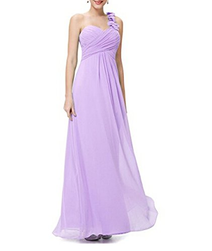 Flower One Shoulder Empire Waist Floor Length Bridesmaids Dress